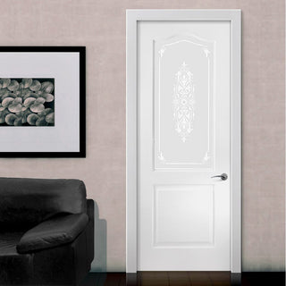 Image: White PVC classic door with grained faces sandblast toughened floral brocade style glass