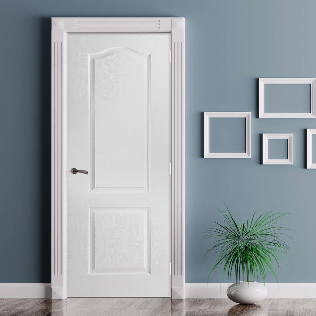 White PVC classic panel door grained faces