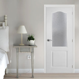 Image: White PVC classic glazed door with grained faces toughened safety glass