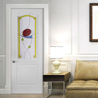 Image: White PVC classic door with grained faces rennie macintosh style colour toughened glass