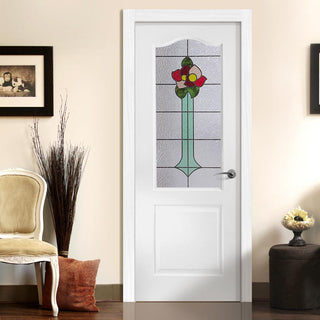 Image: White PVC classic door with grained faces rose sash style toughened glass
