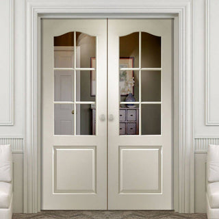 Image: J B Kind Classique Door Pair - Clear Glass is Woodgrained & Primed