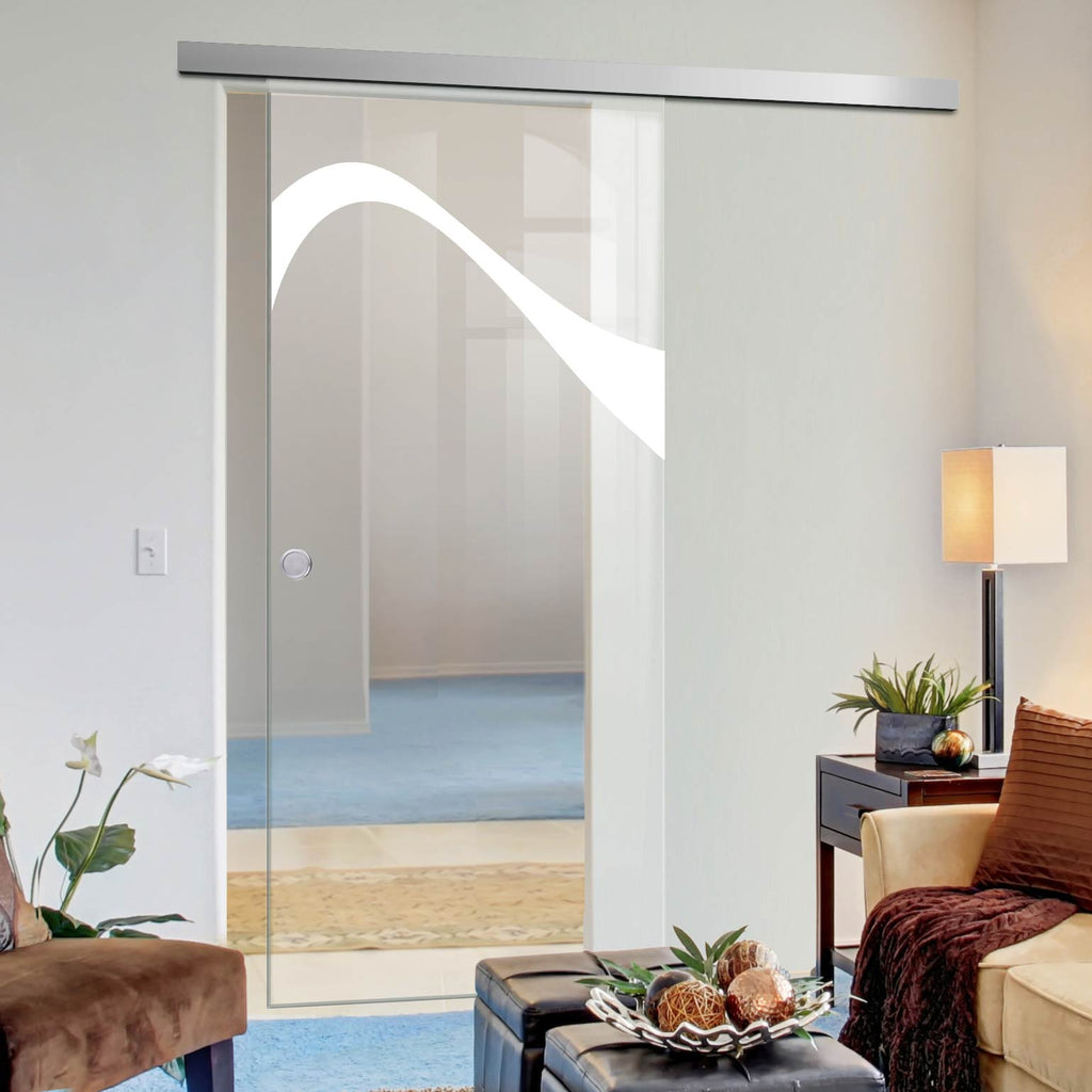 Single Glass Sliding Door - Kingston 8mm Clear Glass - Obscure Printed Design - Planeo 60 Pro Kit