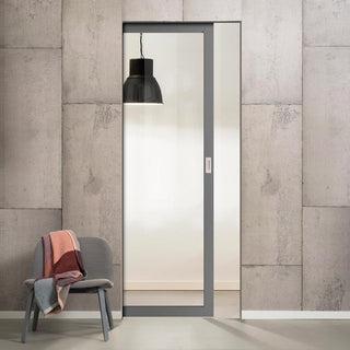 Image: Bespoke Industrial Single Frameless Pocket Door WK6301G - Clear Glass - 4 Prefinished Colour Choices