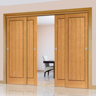 Image: Thruslide Clementine Flush Oak 4 Sliding Doors and Frame Kit - Walnut Inlays - Prefinished