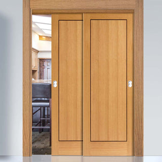 Image: Thruslide Clementine Flush Oak 2 Sliding Doors and Frame Kit - Walnut Inlays - Prefinished