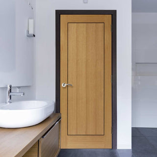 Image: J B Kind Oak Contemporary Clementine Door - Walnut Inlay - Prefinished