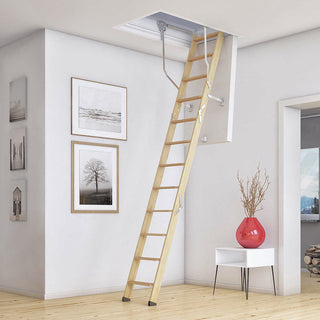 Image: Dolle Wooden Loft Ladder - ClickFix 76G 1175 x 676mm - Insulated Door, Max Ceiling Height 2740mm