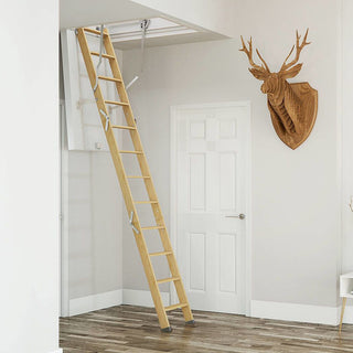 Image: Dolle Wooden Loft Ladder - ClickFix 76G 1150 x 550mm - Insulated Door, Max Ceiling Height 2750mm