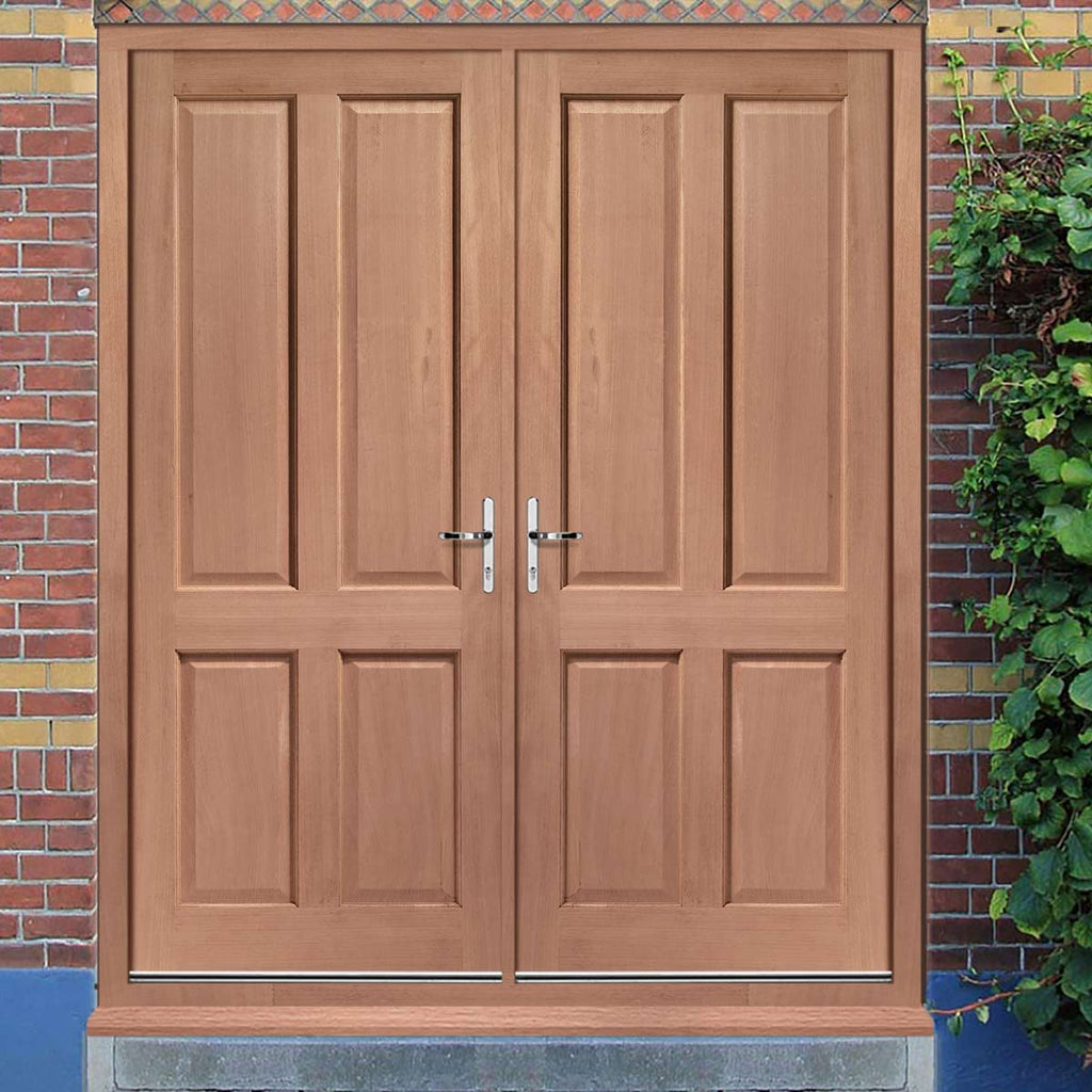 Colonial Exterior 4 Panel Hardwood Double Door and Frame Set, From LPD Joinery