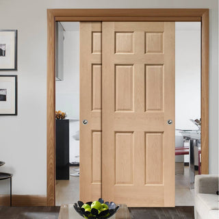 Image: Bespoke Thruslide Colonial Oak 6P - 2 Sliding Doors and Frame Kit