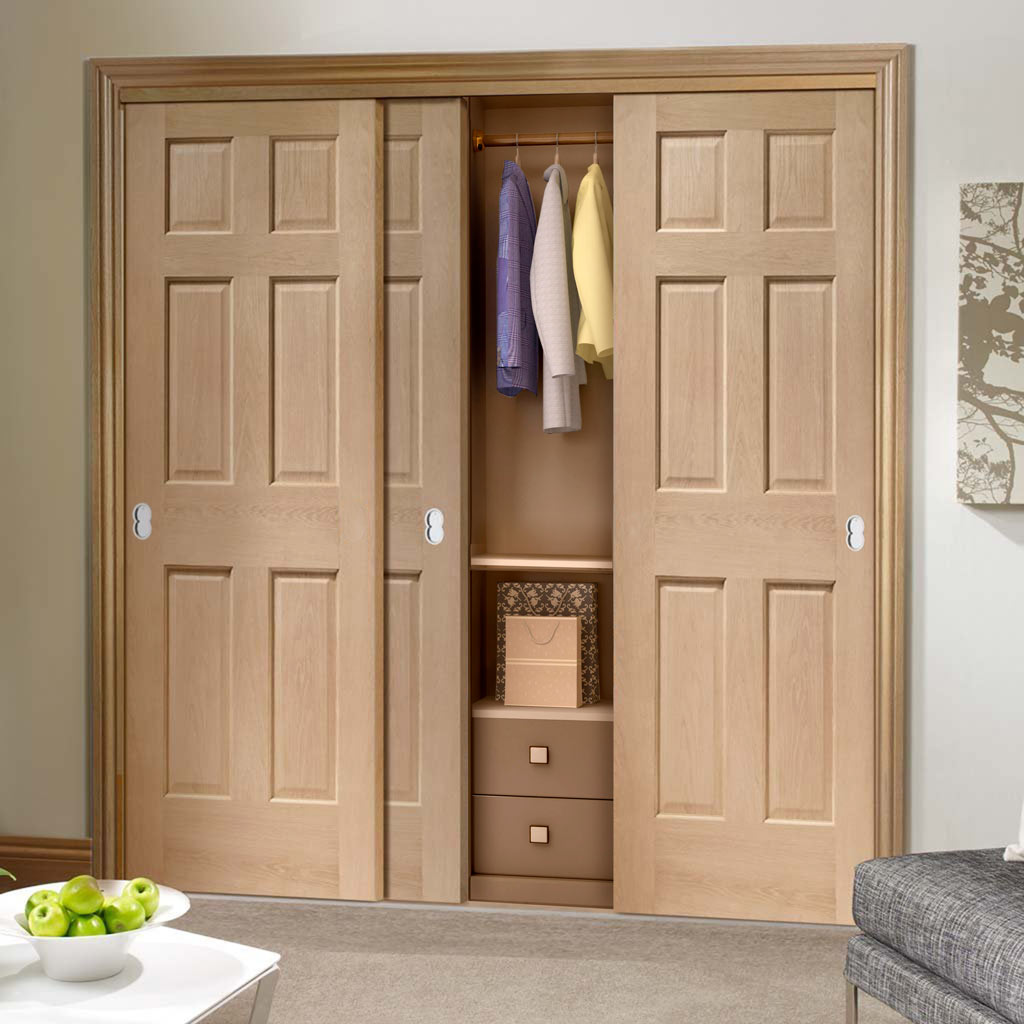 Three Sliding Wardrobe Doors & Frame Kit - Colonial Oak 6 Panel Door - No Raised Mouldings