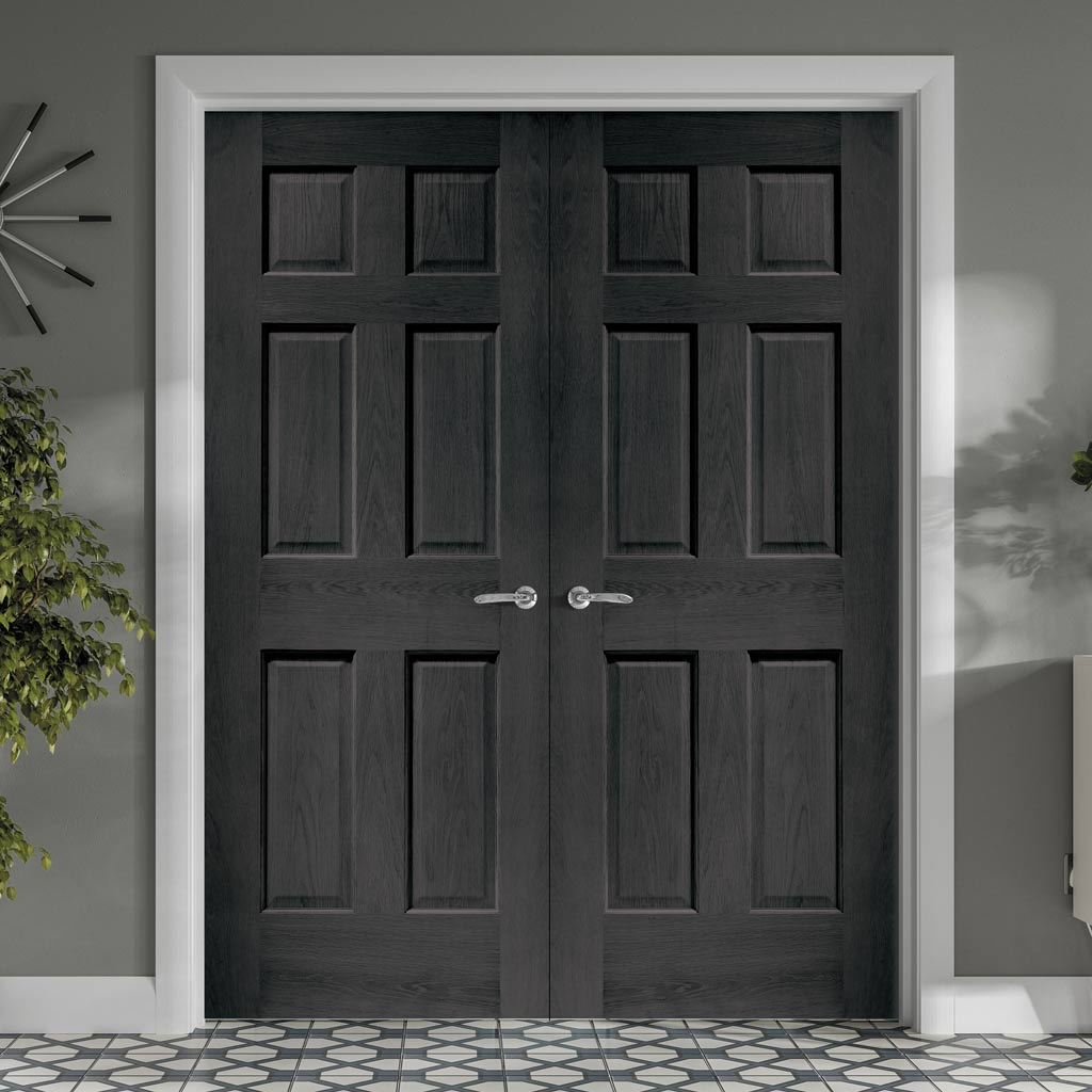 Prefinished Colonial Oak 6 Panel Door Pair - No Raised Mouldings - Choose Your Colour