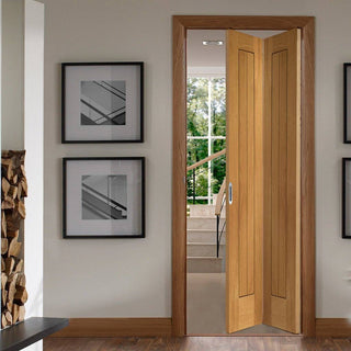 Image: Suffolk Oak Bifold Door - Vertical Lining