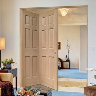 Image: Two Folding Doors & Frame Kit - Colonial Oak 6 Panel 2+0 - No Raised Mouldings - Unfinished