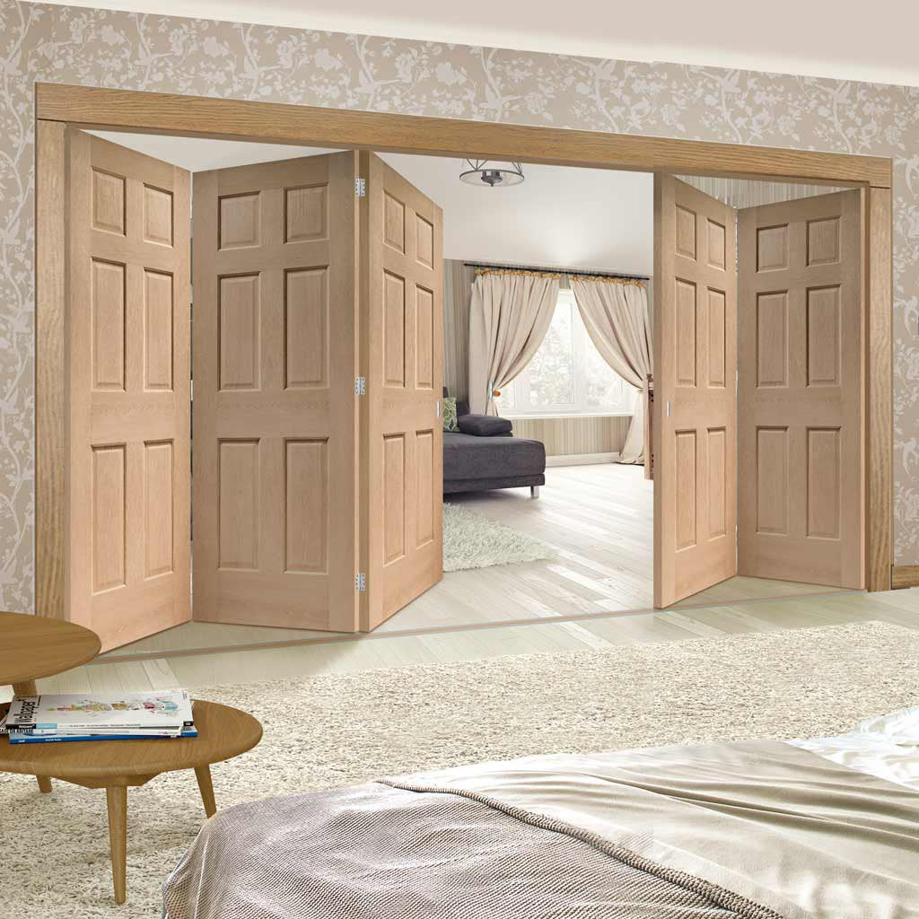Five Folding Doors & Frame Kit - Colonial Oak 6 Panel 3+2 - No Raised Mouldings - Unfinished