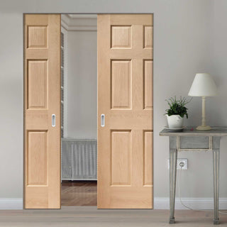 Image: Colonial Oak 6 Panel Absolute Evokit Double Pocket Door - No Raised Moulding