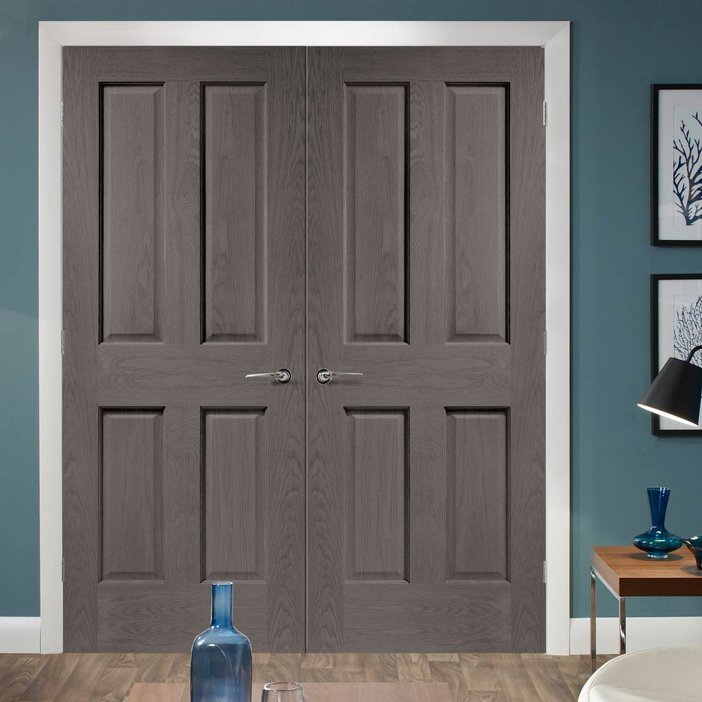 Prefinished Bespoke Victorian Oak 4 Panel Door Pair - No Raised Mouldings - Choose Your Colour