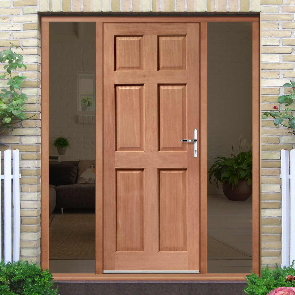 Colonial External Mahogany 6 Panel Door and Frame Set - Two Unglazed Side Screens