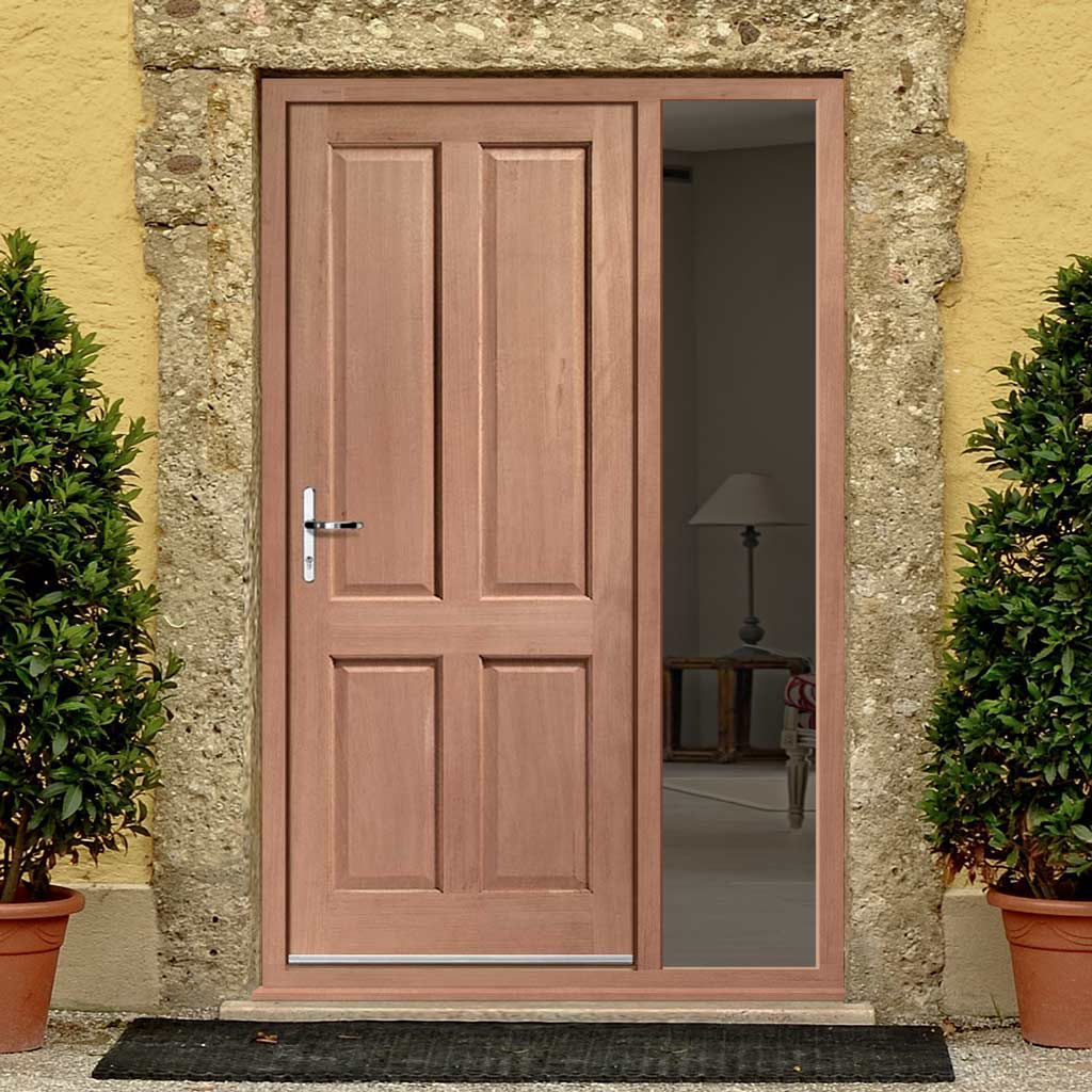Colonial 4 Panel External Hardwood Door and Frame Set - One Unglazed Side Screen, From LPD Joinery