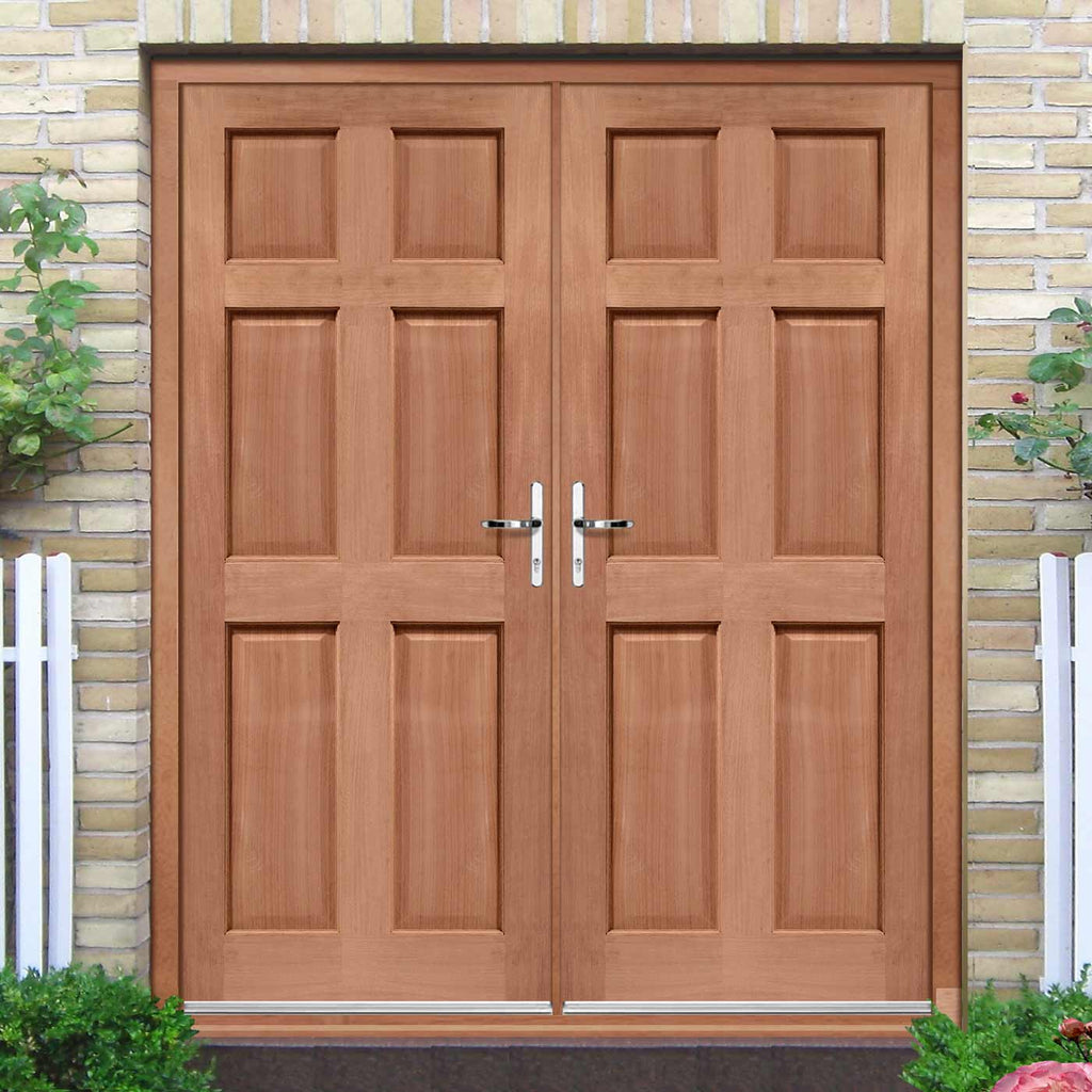 Colonial External Mahogany 6 Panel Double Door and Frame Set