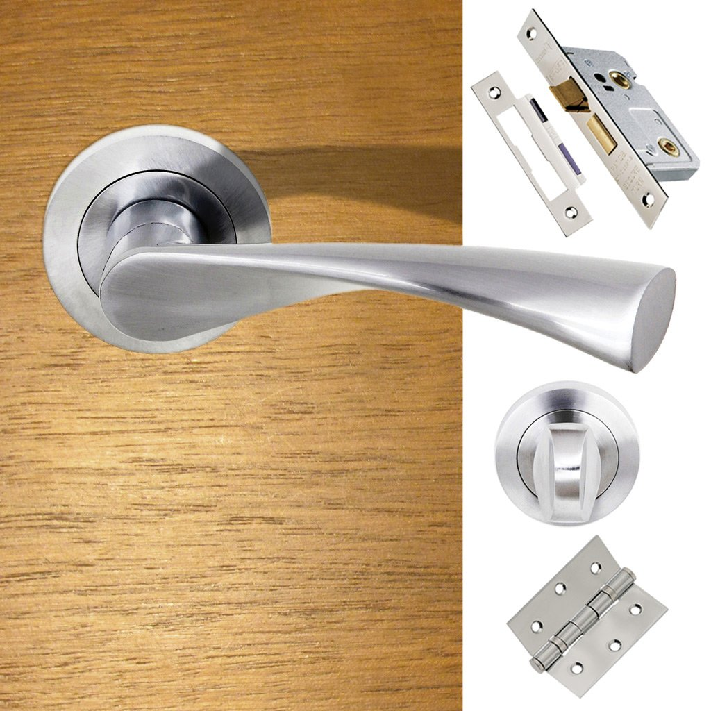 Colorado Status Bathroom Lever on Round Rose - Satin Chrome Handle Pack