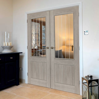 Image: J B Kind Laminates Colorado Grey Coloured Door Pair - Clear Glass - Prefinished