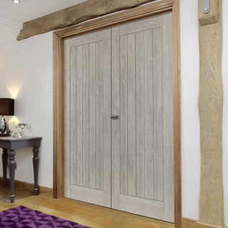 Image: J B Kind Laminates Colorado Grey Coloured Door Pair - Prefinished