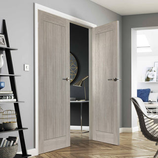 Image: J B Kind Laminates Colorado Grey Coloured Door Pair - 1/2 Hour Fire Rated - Prefinished