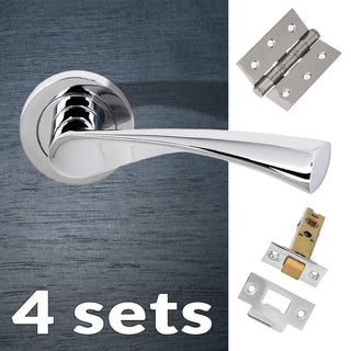 Image: Four Pack Colorado Status Lever on Round Rose - Polished Chrome Handle