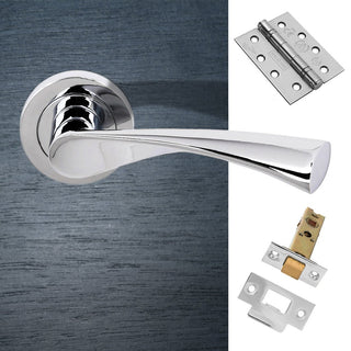 Image: Colorado Status Fire Lever on Round Rose - Polished Chrome Handle Pack