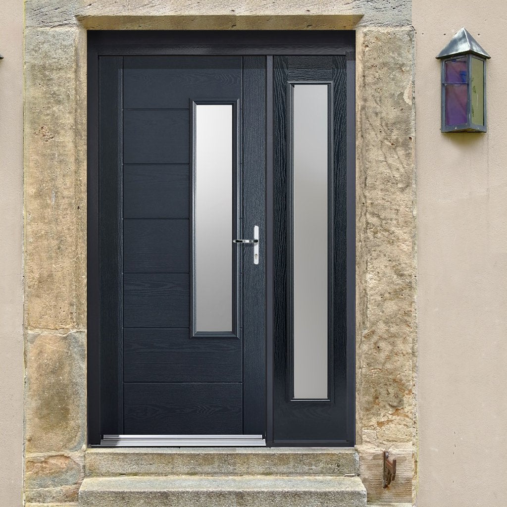 GRP Grey Newbury Frosted Double Glazed Composite Door - Frosted Single Sidelight