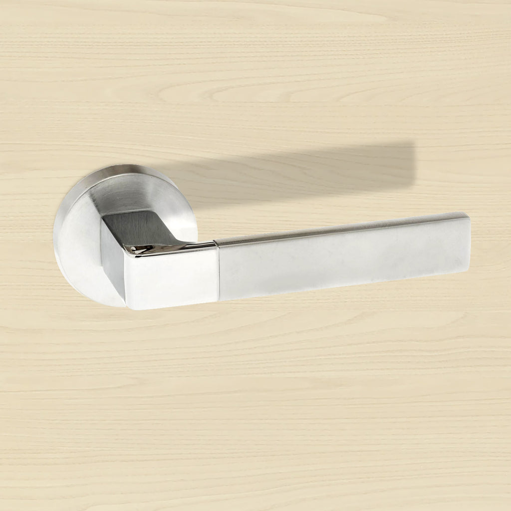 Forme Asti Designer Lever on Minimal Round Rose - Satin Chrome - Polished Chrome