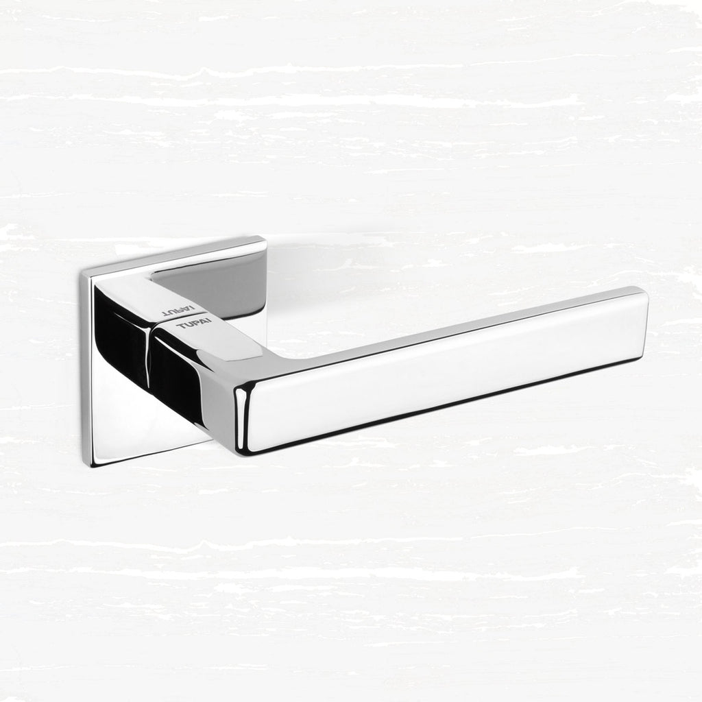 Tupai Rapido 5S Line Portel Lever on 5mm Slimline Square Rose - Bright Polished Chrome