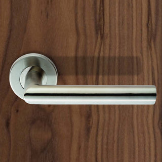 Image: Steelworx CSL1192 Lever Latch Handles on Sprung Rose - 2 Finishes