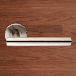 Image: Steelworx CSL1194 Lever Latch Handles on Sprung Rose - 2 Finishes