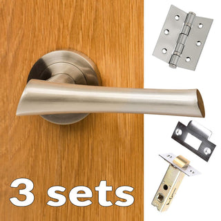 Image: Three Pack Corsica Mediterranean Lever On Rose - Satin Nickel Handle