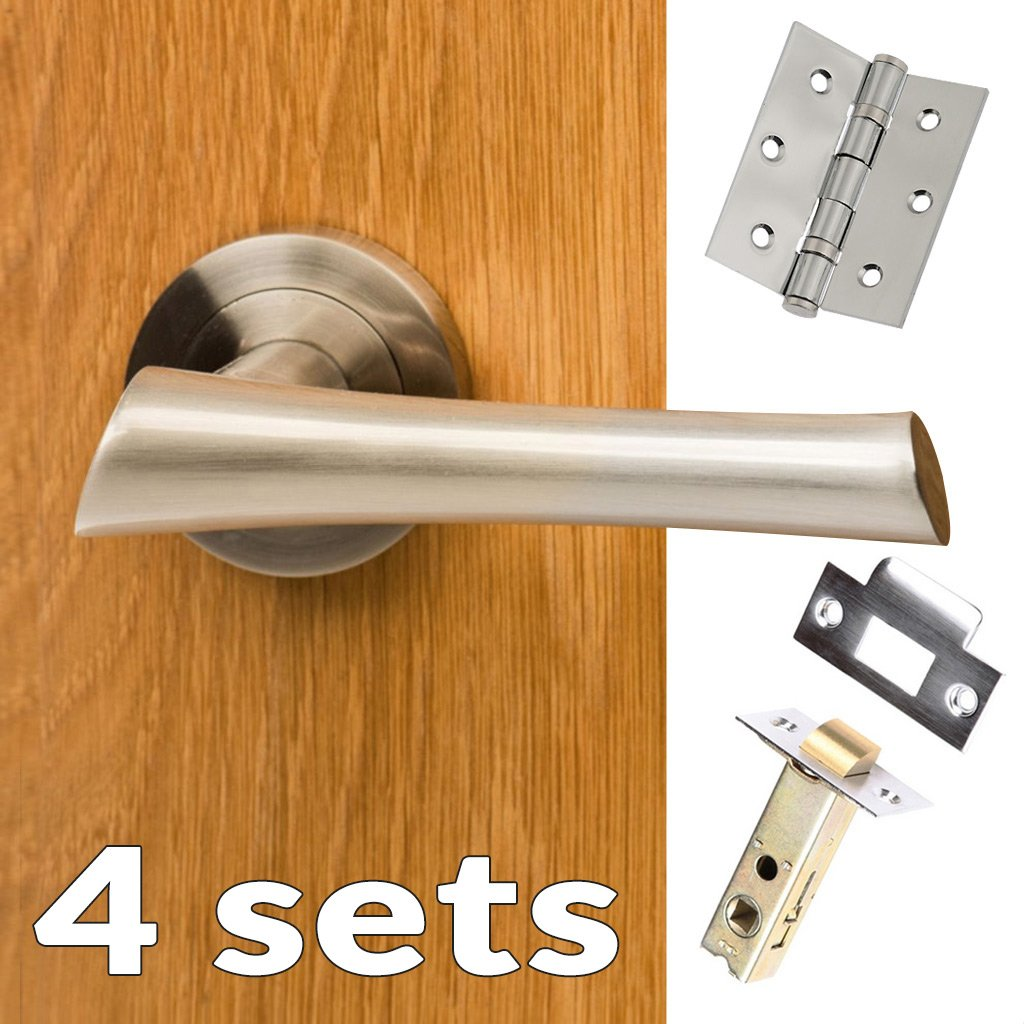 Four Pack Corsica Mediterranean Lever On Rose - Satin Nickel Handle