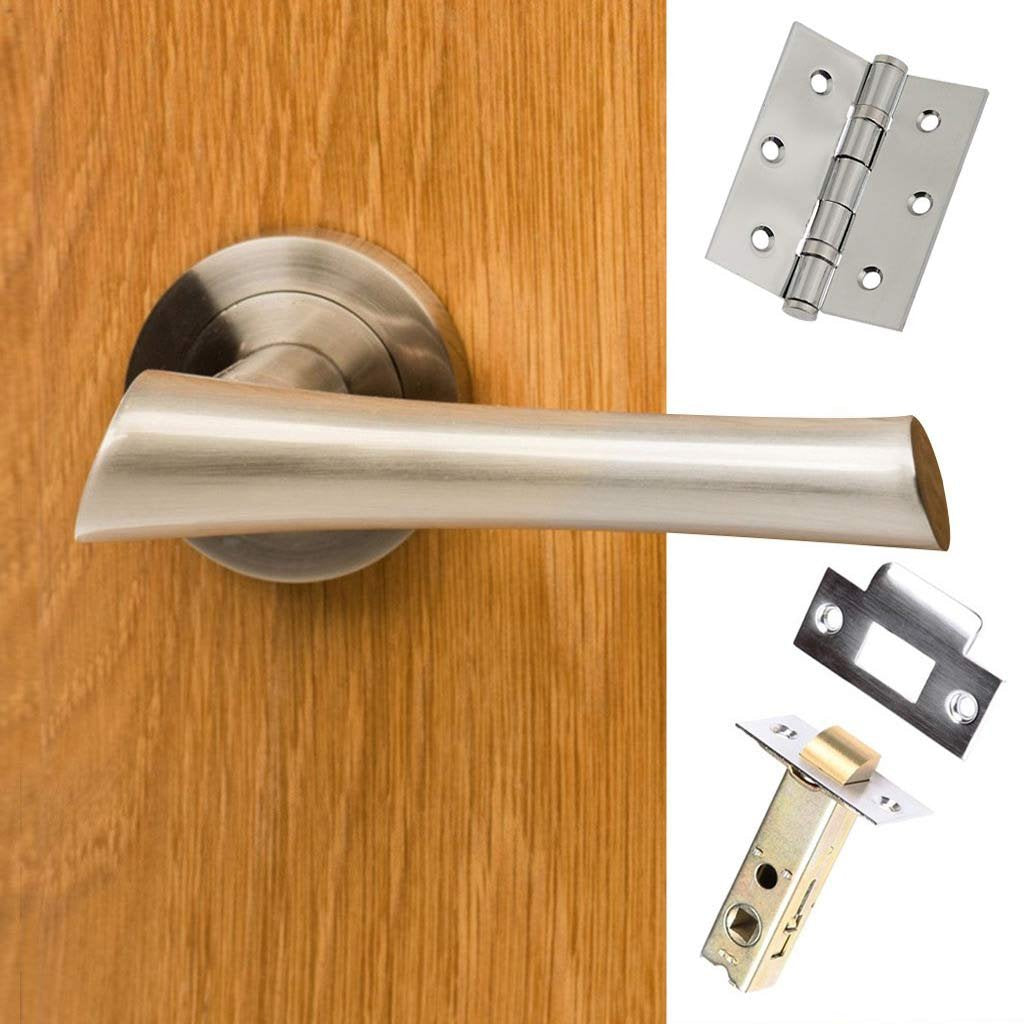 Corsica Mediterranean Lever On Rose - Satin Nickel Handle Pack