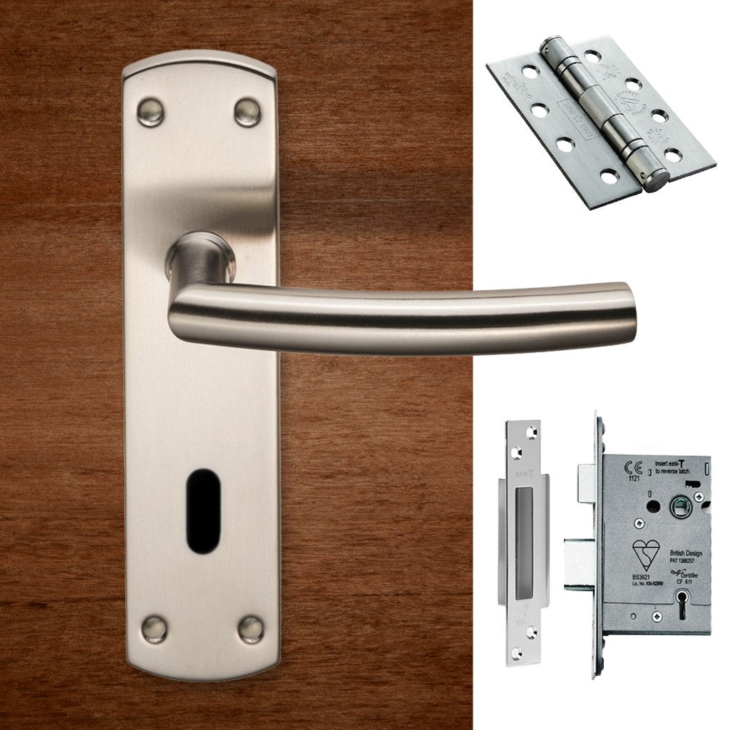 Steelworx CSLP1167P/SSS Arched Lever Lock Satin Stainless Steel Handle Pack