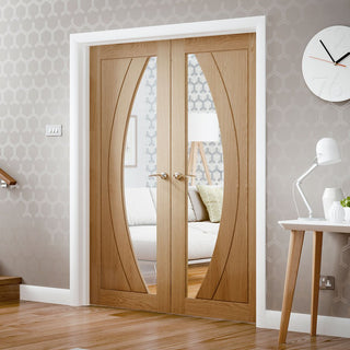 Image: Salerno Oak Door Pair with Clear Safety Glass