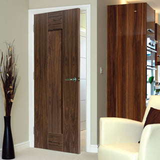 Image: J B Kind Walnut Axis Shaker Panel Door - 1/2 Hour Fire Rated - Prefinished