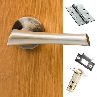 Image: Corsica Mediterranean Fire Lever On Rose - Satin Nickel Handle Pack