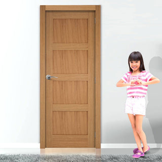 Image: Door and Frame Kit, Contemporary 4 Panelled Oak Solid Door