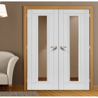 Image: J B Kind Phoenix White Primed Flush Door Pair - Clear Glass