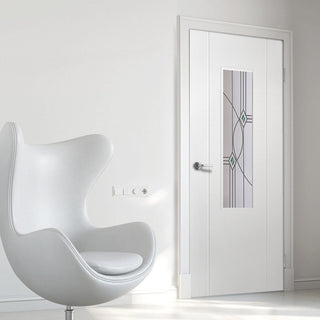 Image: White PVC contemporary door with lightly grained faces elgin fusion eclipse style toughened clear glass