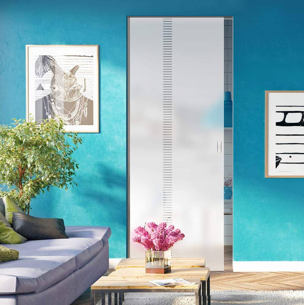 Spott 8mm Obscure Glass - Clear Printed Design - Single Absolute Pocket Door