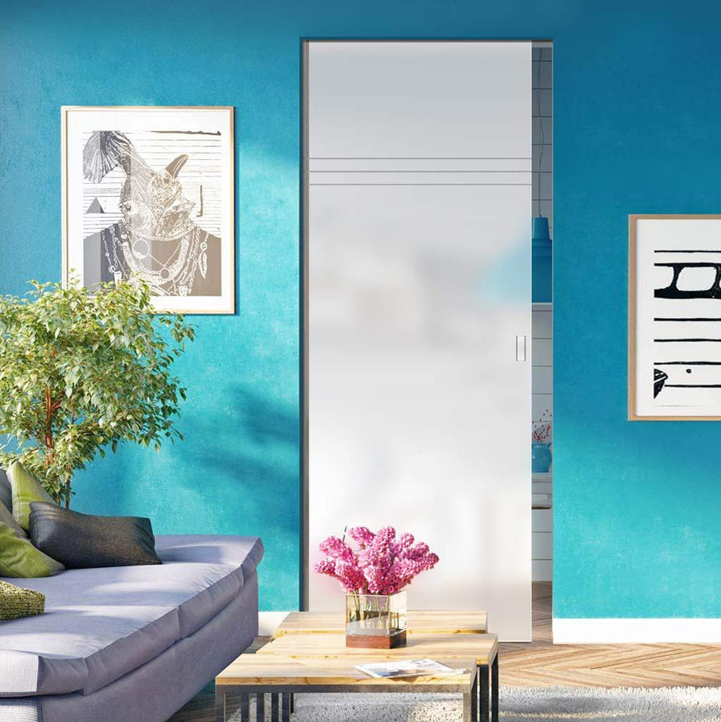 Linton 8mm Obscure Glass - Obscure Printed Design - Single Absolute Pocket Door