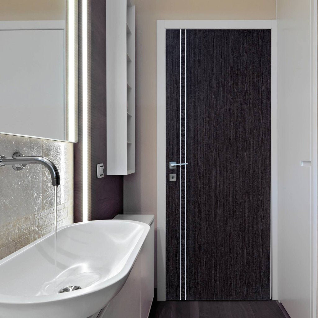 Modern flush grey colour interior door