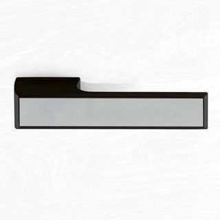 Image: Tupai Rapido VersaLine Tobar Lever on Long Rose - Satin Stainless Steel Decorative Plate - Pearl Black